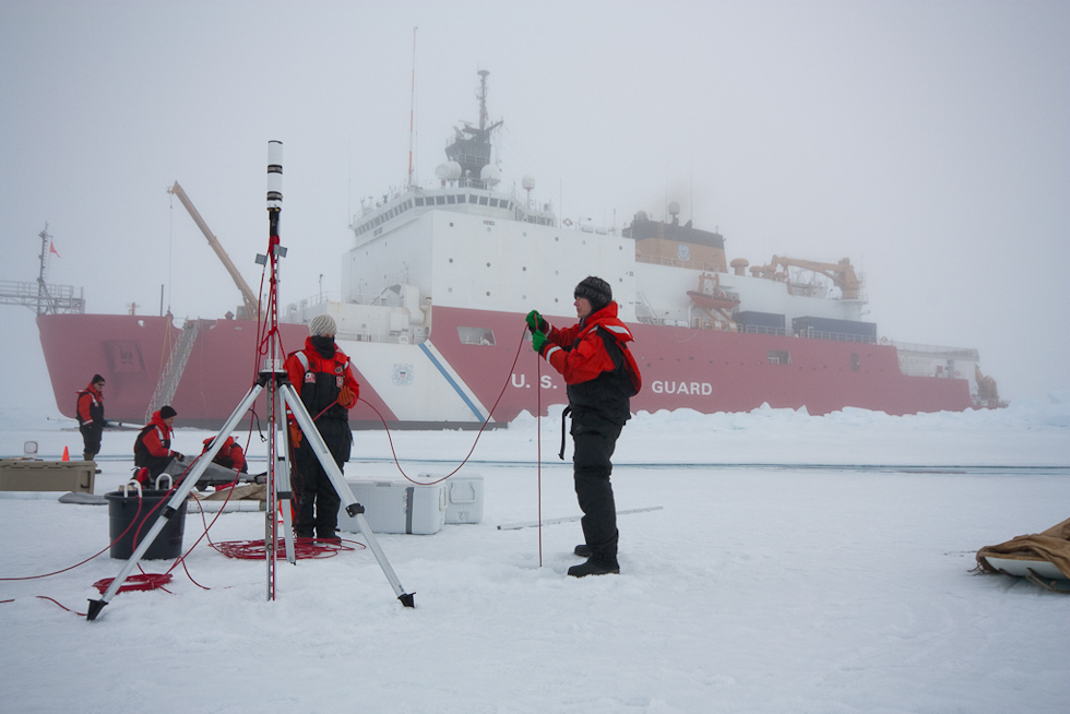 Figure 1. Dr. Karen Frey (Clark University) deployed ICE-Pro during the Impacts of Climate change on the Eco-Systems and Chemistry of the Arctic Pacific Environment (ICESCAPE) 2010 campaign.