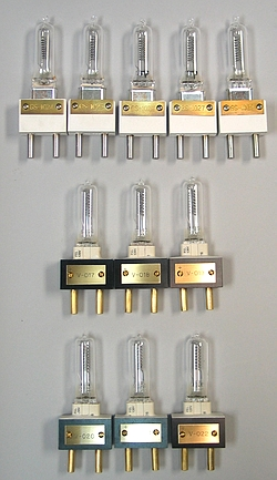 [b]Figure 1[/b]: A selection of 1000 Watt FEL Standards of Spectral Irradiance used for Calibrations. Biospherical Instruments maintains several standards that are traceable to the NIST/FASCAL irradiance scale.