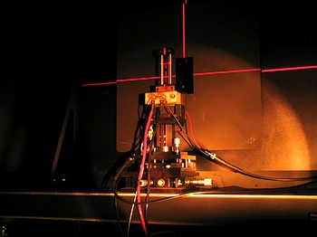 Mounting fixture for Standard of Spectral Irradiance. The red lines are traces of the laboratory's laser alignment system.