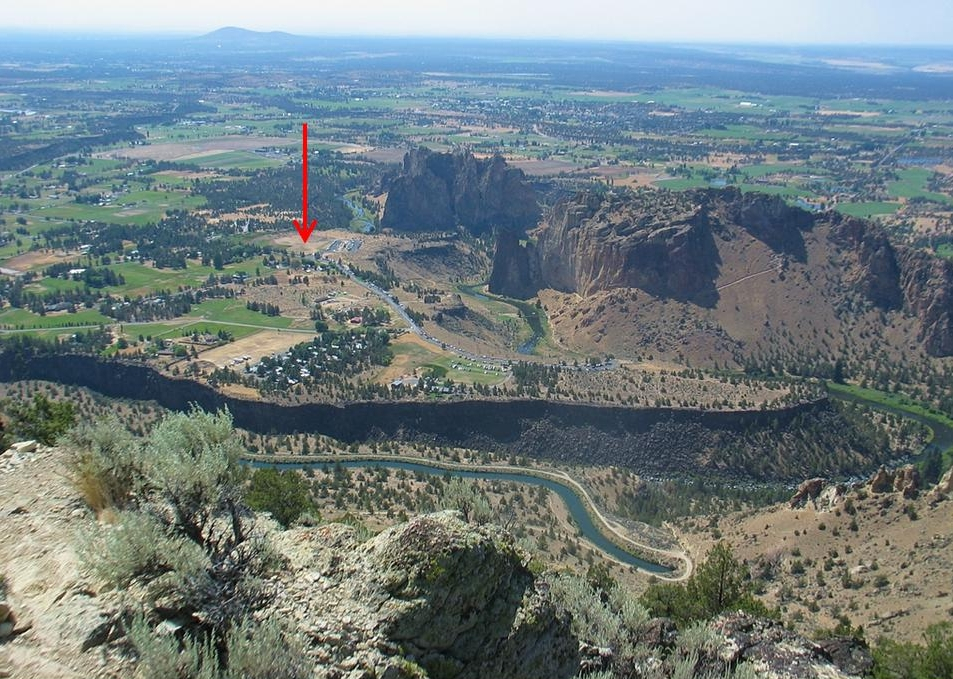 Fig 2: Smith Rock State Park viewed from 'Peak 4230'. The location of the instrument is indicated by a red arrow.